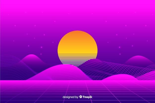 Красочный ретро футуристический пейзаж фона