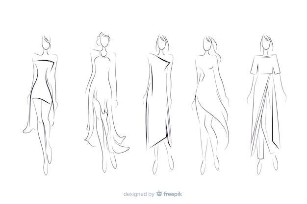 Коллекция рисованной моды эскиз