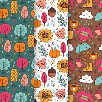 秋パターンのセット手描きスタイル