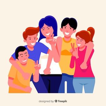 写真のポーズの若者のグループ