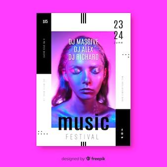 写真と抽象的なカラフルな音楽ポスターテンプレート