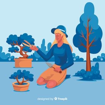 彼女の趣味を楽しんでいる女性のイラスト
