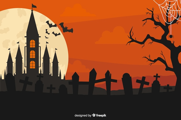 Плоский дизайн фона для хэллоуина