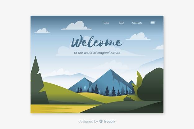 Приветственный шаблон целевой страницы с пейзажем
