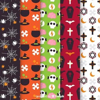 平らなハロウィーンパターンのコレクション