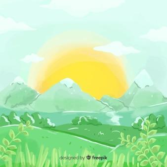 Акварель естественный фон с ландшафтом