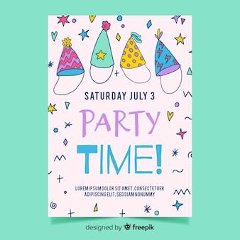 手描きの誕生日の招待状のテンプレート