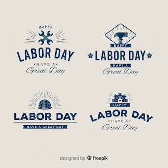 Плоский дизайн коллекция значок день труда