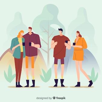 自然の中でキャンプの人々のイラスト