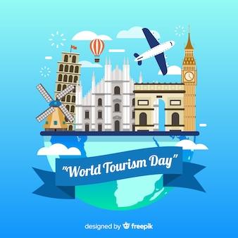 Всемирный день туризма фон с достопримечательностями и транспортом