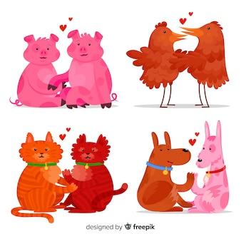 お互いを愛するかわいい動物のイラスト