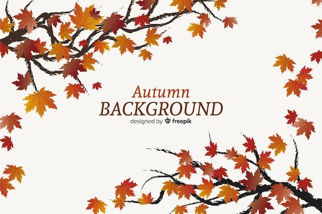 Осенний декоративный фон плоский дизайн