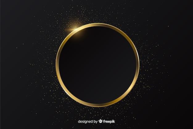 Золотая игристая круглая рамка фон