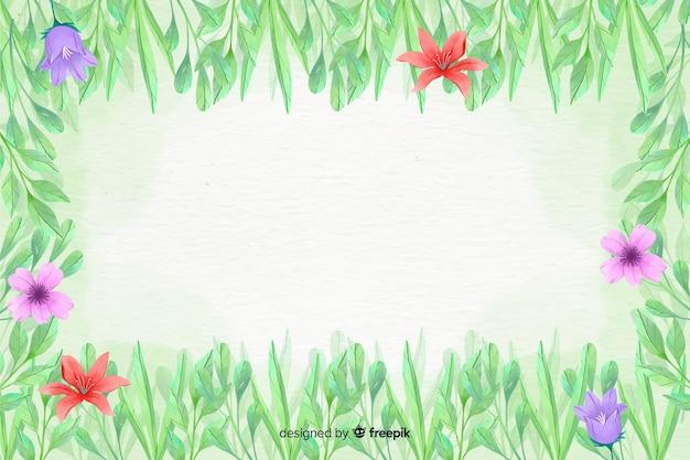 花のフレームの背景の水彩風