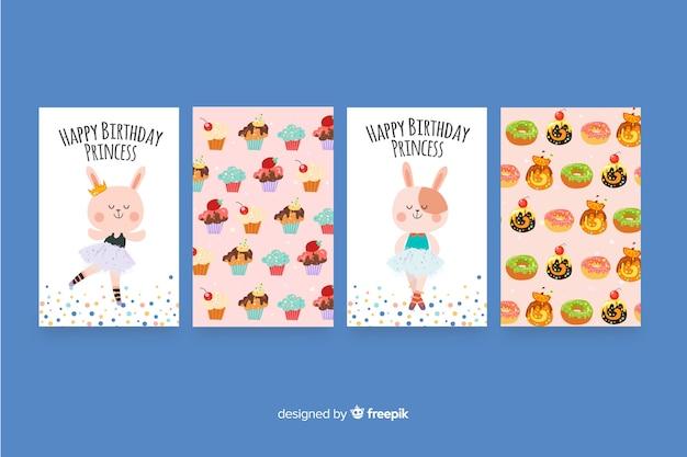Плоский дизайн коллекции поздравительных открыток