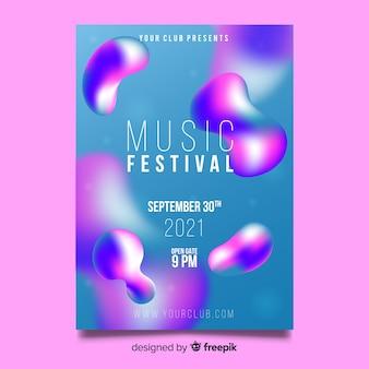 液体効果を持つ音楽祭ポスターテンプレート