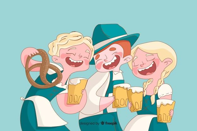 オクトーバーフェストを祝う手描きの人々