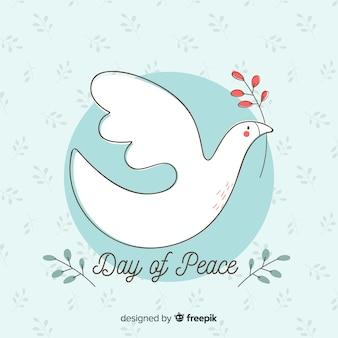 手描きの鳩と平和の日の背景