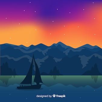 フラットスタイルの帆船と自然の風景