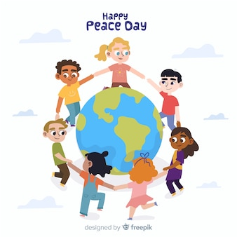 Плоский день мира фон с детьми