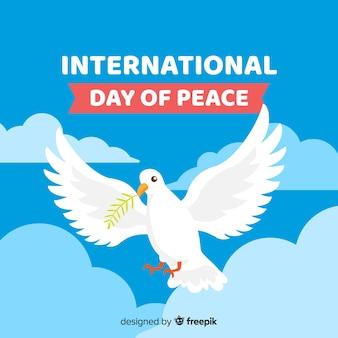 Плоский мир день фон с голубем
