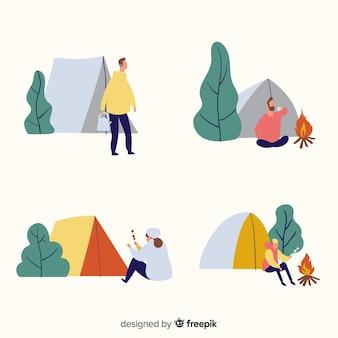 自然の中でキャンプする人々のイラスト