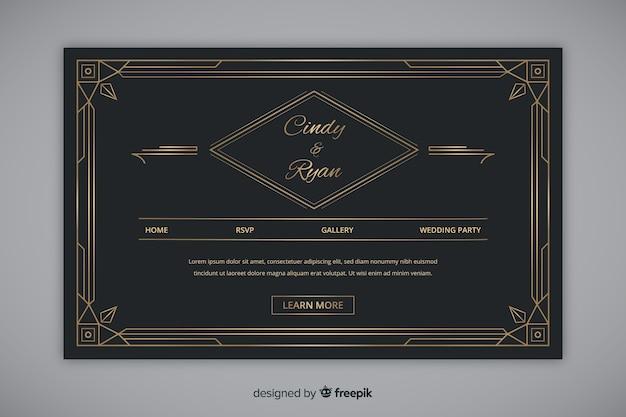 黄金のエレガントな結婚式のランディングページ