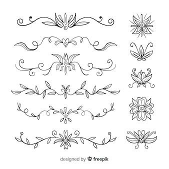 手描きの結婚式の装飾品のパック