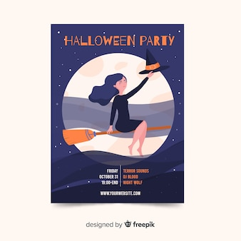 ほうきで魔女とハロウィーンのポスター