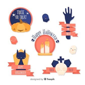 Плоская коллекция этикеток-значков на хэллоуин