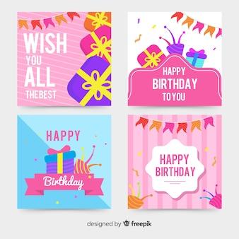 フラットなデザインの誕生日カードコレクション