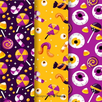 フラットなデザインのハロウィーンパターンコレクション