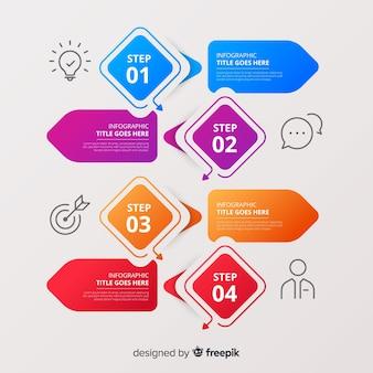 カラフルなインフォグラフィック手順テンプレートフラットデザイン