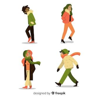 秋を歩く人のセット