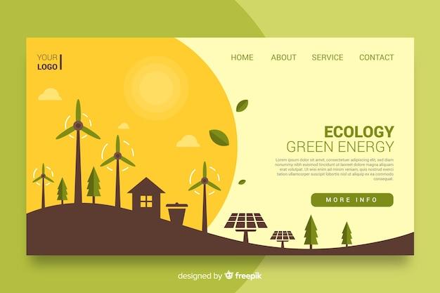 Экология целевой страницы плоский дизайн