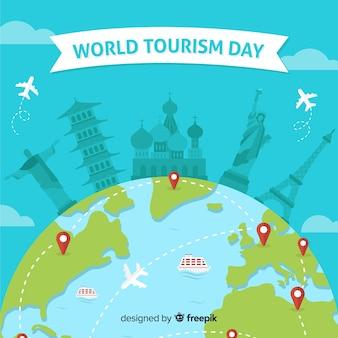 Плоский всемирный день туризма фон