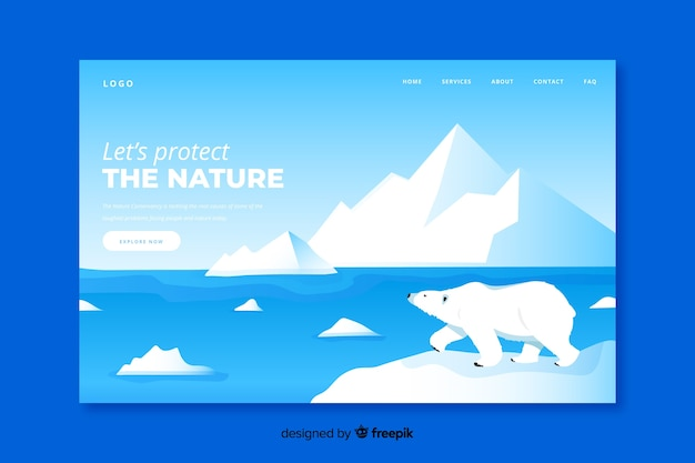 Плоский дизайн посадочной страницы северного полюса