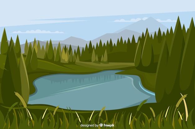 自然の風景の背景のフラットなデザイン