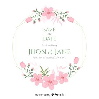 フラット花のフレームの結婚式の招待状