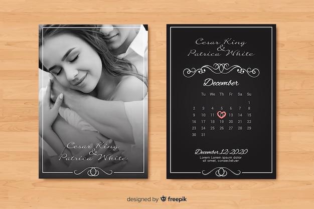 写真と黒の結婚式の招待状