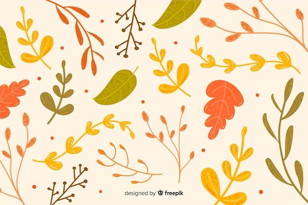 手描きの葉で秋の背景