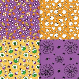 手描きハロウィーンパターンコレクション