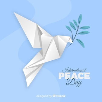 鳩と折り紙の平和の日の背景