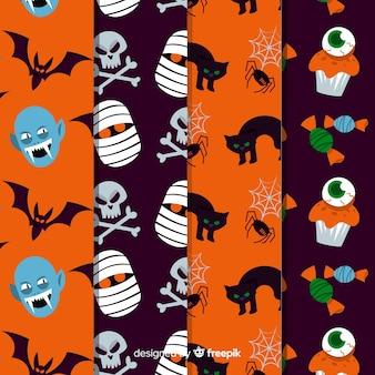 Хэллоуин шаблон коллекции плоский дизайн