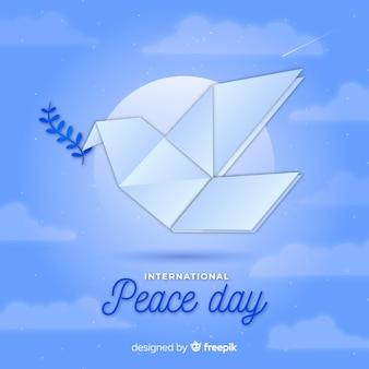 Оригами мир день фон с голубем