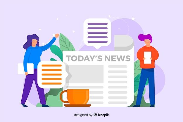 ニュースランディングページテンプレートフラットデザイン