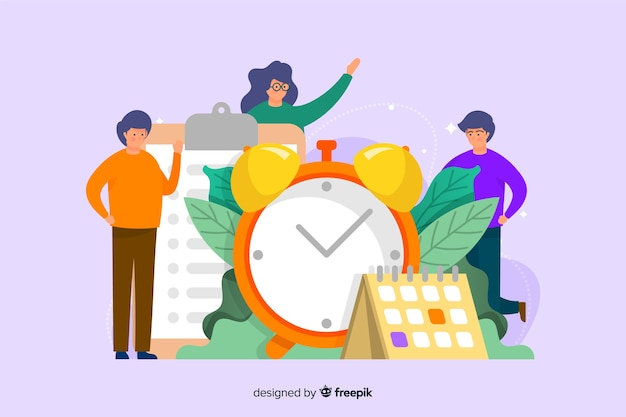 時間管理ランディングページテンプレートフラットデザイン