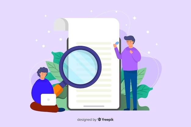 検索コンセプトのランディングページテンプレートフラットデザイン