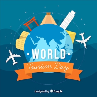 Плоский всемирный день туризма фон с достопримечательностями