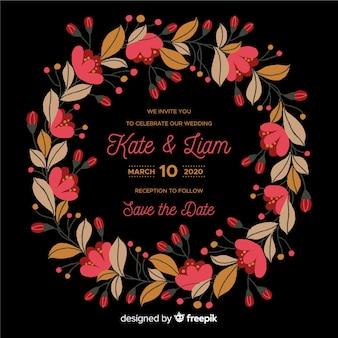 花のフレームの結婚式の招待状のテンプレート